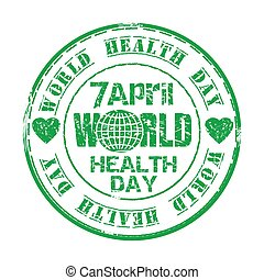 April 7. World Health Day. Green grunge rubber stamp