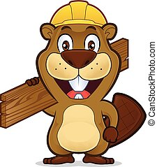 Beaver wearing a construction hat and holding a plank of wood