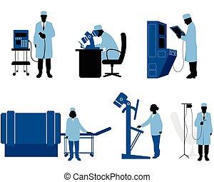 Medics with equipment - Vector illustration of a six medics...