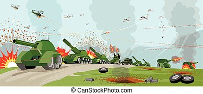 Armies on battlefield - Vector illustration of a armies on...