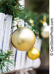 Christmas toy- ball - Christmas toy ball hanging on wooden...
