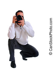 Portrait of male photographer with camera isolated on white...
