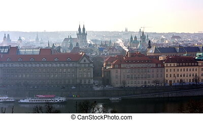 Panoramic view of Prague cityscape at morning, Czech...
