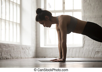 Young woman in Push ups or press ups pose, closeup - Young...