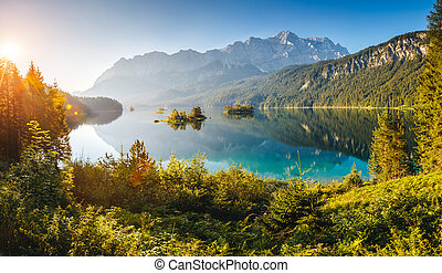 beautiful alpine lake - View of the islands and turquoise...