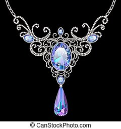Illustration of pendant necklace with filigree patterns and...