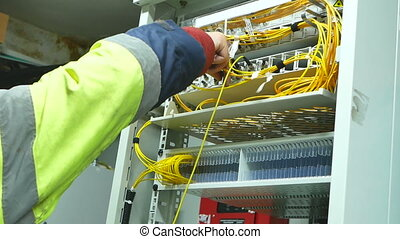 Profession of internet provider - Network engineer working...