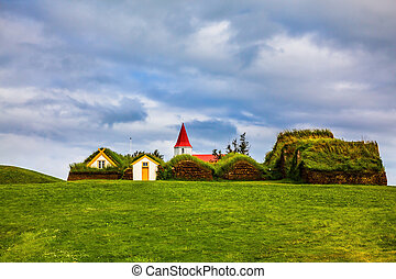 Museum Glaumbaer, Iceland - The village of houses covered...