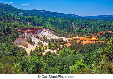 Languedoc - Roussillon, France. The pit on production ochre....