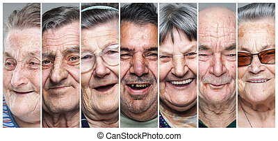 Happy old people. Collage of delighted, smiling elderly men and women
