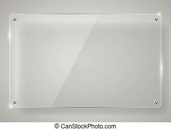 Realistic horizontal transparent glass frame with shadow....