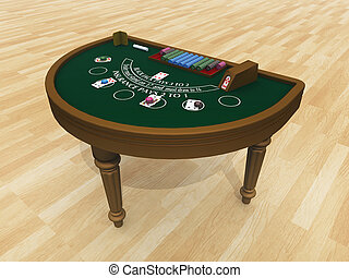 Blackjack table - Computer generated 3D illustration with a...