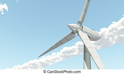 Wind turbine - Computer generated 3D illustration with the...