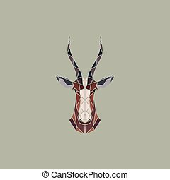African Antelope blesbok. - Vector sign abstract head of...
