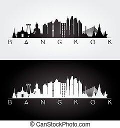 ?????? - Bangkok skyline and landmarks silhouette, black and...