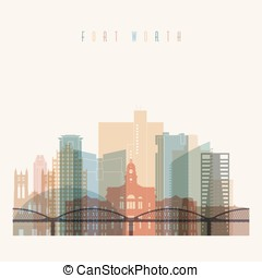 ?????? - Transparent style Fort Worth state Texas skyline...
