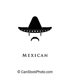 Mexican man with sombrero and mustache. Vector illustration.