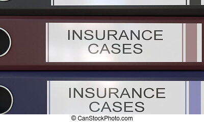 Vertical stack of multicolor office binders with Insurance...