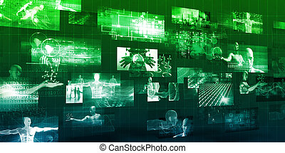 Modern Communication Technology Concept with Moving Data