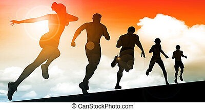 Running Women and Men Group as Background Illustration