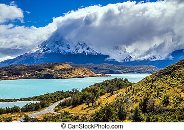 Los Cuernos are covered with snow - The magnificent cliffs...