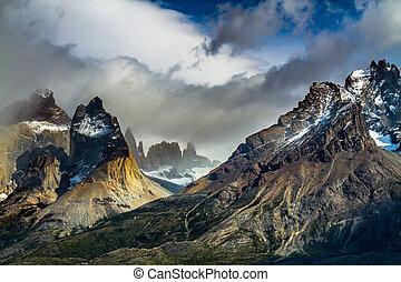 Travel in cliffs of Los Kuernos - National Park Torres del...
