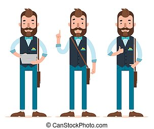 Businessman characters. Man stands with digital tablet, man...