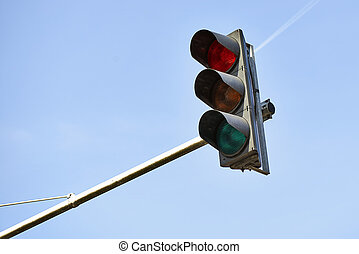 Red traffic light in the city of brussels, Europe