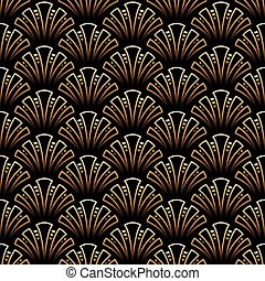 Vector - Vector illustration of golden seamless pattern in...