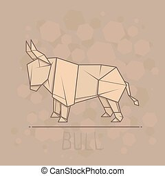 Vector illustration paper origami of bull. - Vector simple...