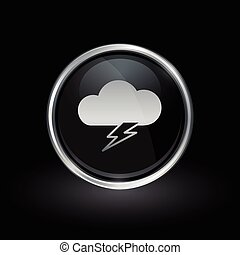 Cloud lightning bolt icon inside round silver and black emblem
