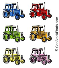 Tractors - An illustration of different colored farm...