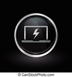 Laptop bolt flash icon inside round silver and black emblem