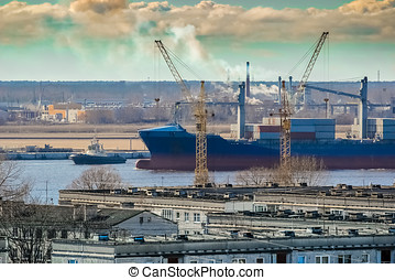 Blue cargo container ship