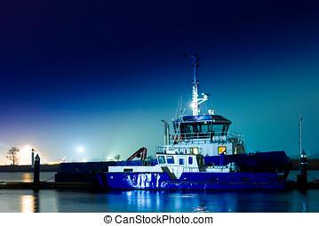 Blue tug ship
