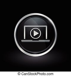 Laptop media play icon inside round silver and black emblem