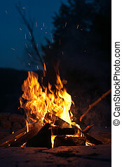 Campfire with Shooting Sparks