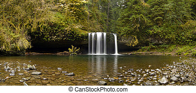 Upper Butte Creek Falls Oregon Panorama - Upper Butte Creek...