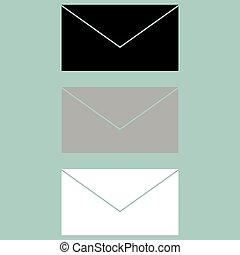 Letter icon black grey white. Set icons.