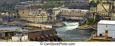 Hydro-Electric Power Plant on Willamette Falls in Oregon...