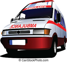 Modern ambulance van over white. Colored vector illustration...