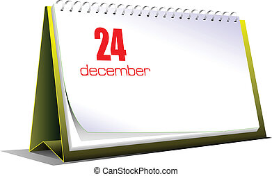Vector illustration of desk calendar 24 december Christmas...