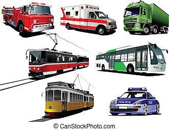 Set of municipal transport images. Vector illustration