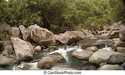 Water Tumbles along a Rocky River Bed in Vietnam, with Sound...