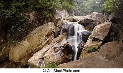 Water Flowing over Ba Ho Waterfall in Vietnam, with Sound -...