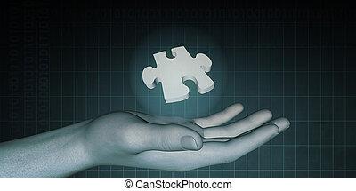 Businessman Showing Jigsaw Puzzle