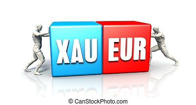XAU EUR Currency Pair Fighting in Blue Red and White...