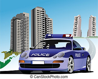 Dormitory and police. Vector illus