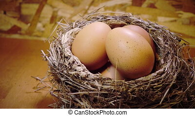 Easter eggs in a nest,