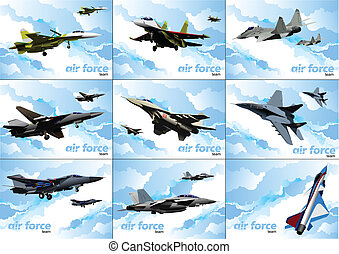 Nine posters of Air force team. Ve